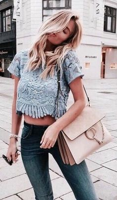 #summer #outfits  Blue Crop Lace Top + Skinny Jeans Q✨