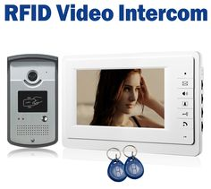 "7"" LCD Wired Video Door Phone Intercom + CMOS Night Vision Camera with RFID Door Access Control System"