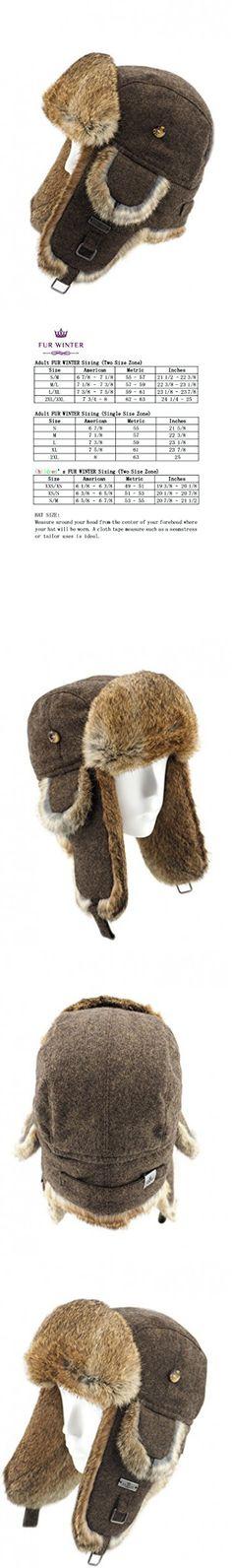 FUR WINTER Wool Blend Tweed Rabbit Fur Aviator Bomber Trapper Hat BRN L/XL