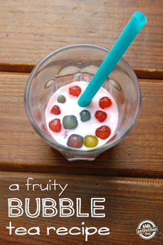 bubble tea recipe - fruity and fun for kids! Plus MMMM I LOVEEEE me some bubble tea omg it makes me want one this very second! Fun Drinks, Yummy Drinks, Yummy Food, Beverages, Tea Cocktails, Refreshing Drinks, Detox Drinks, Cold Drinks, Milk Shakes