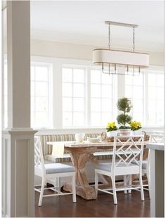 Old Greenwich Beach Cottage - contemporary - dining room - MuseInteriors: Love the colors and style of banquette breakfast room Kitchen Banquette, Kitchen Seating, Banquette Seating, Kitchen Benches, Kitchen Nook, Kitchen Ideas, Rustic Kitchen, Warm Kitchen, Updated Kitchen