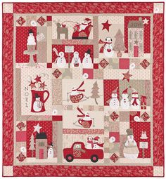 Check out the teacup sleds! Actually this pattern would be lovely even without the snowmen; just a quilt in red & neutrals.