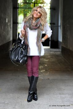 rocking colored skinnies in the fall