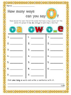 tattling to the teacher: long vowels