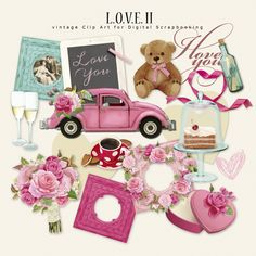 L.O.V.E. II The Kit contains 16 illustrations. Kit for Romantic Events, Valentine's Day, Wedding. Pink, magenta, and turquoise colors.