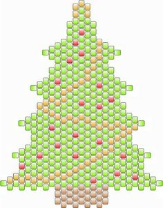 Free Bead Patterns and Ideas by Sandra D Halpenny : Christmas Tree Ornament in Peyote - Free Pattern