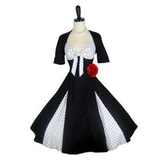 Retro 1950s Black White Polka Dot Bow Pleat Dress