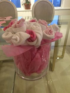 Baby sock bouquet- pink/white (15 pairs)