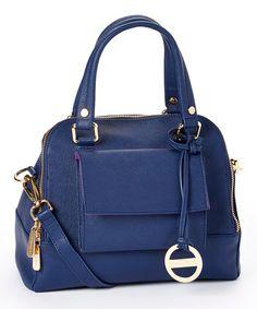 Look what I found on #zulily! Navy Blue Valentina Leather Satchel by CMD #zulilyfinds