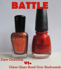 Polish This!: Nail Polish Battles: Zoya Channing vs. China Glaze Bend Over Backwards and Flormar JG453 vs. China Glaze Riveting