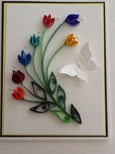 Set of Quilling Card - Quilled tulip Handcrafted Card - Handmade Flower Card - Spring card - Small gift - Gift for wife Paper Quilling Cards, Paper Quilling Flowers, Paper Quilling Tutorial, Paper Quilling Patterns, Origami And Quilling, Quilling Jewelry, Quilling Work, Quilling Paper Craft, Paper Crafts