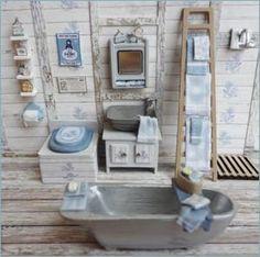 Uncle Tubby's Bathroom Kit – includes tub, sink, composting toilet, mirror… Vitrine Miniature, Miniature Rooms, Miniature Houses, Miniature Furniture, Dollhouse Furniture, Ladder Accessories, Dollhouse Accessories, Barbie Accessories, Diy Dollhouse