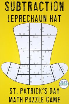 St. Patrick's Day Subtraction Leprechaun Hat Puzzles - These puzzles are perfect for math centers during Saint Patricks Day week. Each of the three puzzles will have students answer basic subtracting math facts. They're perfect for 1st, 2nd, and 3rd grade elementary or homeschool students who need a critical thinking challenge. Use them for early or fast finishers, review, enrichment, critical thinking, GATE, test prep, stations, & more! {first, second, third graders, home school, subtract}