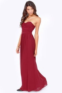 LULUS Exclusive Slow Dance Strapless Burgundy Maxi Dress $71