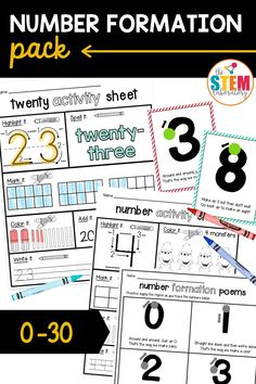 Looking for a great way to make learning to write the numbers 0 to 30 fun for kids! Look now further! This number formation activity pack is brimming with motivating ways to practice writing and recognizing numbers. Our activity pack includes posters with memorable poems, a 0-10 review sheet kids can take home to practice plus number activity sheets that work on writing and concept. These are great kindergarten and grade 1 activities to add to your collection! Kindergarten Writing Activities, Number Activities, Work On Writing, Writing Practice, Number Formation, Learning To Write, Activity Sheets, Number Sense, Confidence Building