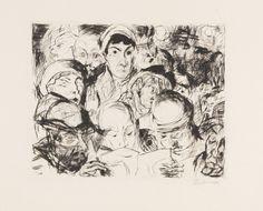 Max Beckmann (German, 1884-1950), Die Kriegserklärung [The Declaration of War], 1914. Drypoint on copper plate printing board, image: 19.9 x 24.7 cm. Sheet: 35.7 x 46.2 cm.