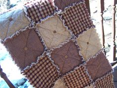 Homespun Red Country Primitive Rag Quilt Table Runner Button Adorned. Love these colors.