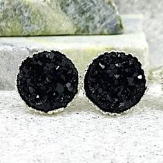 Bridesmaid Gift - Black Druzy Stud Bridesmaid Earrings - Black Bridesmaid Jewelry - Black Wedding Jewelry - Maid of Honor Gift by WisteriaSkyBoutique Bridal Party Jewelry, Wedding Jewellery Gifts, Bridesmaid Earrings, Bridesmaid Gifts, Black Bridesmaids, Junior Bridesmaids, Black Earrings, Stud Earrings, Maid Of Honour Gifts