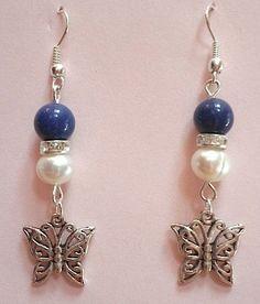 """Boucles d'oreilles """"papillons argentés"""" lapis-lazuli, swarovski, : Boucles d'oreille par les-creations-de-timiq"""