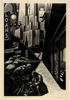 """Clare Leighton, """"Bread Line, New York,"""" Wood Engraving, 1932."""