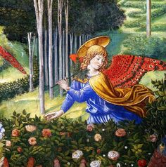 Gozzoli, Adoration of the Magi, angel with rose bushes, detail