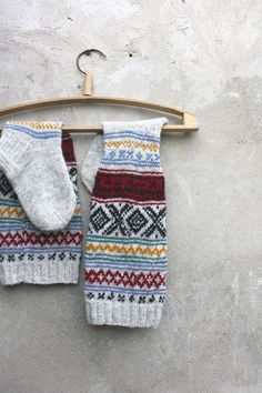 Grey Knee high knitted socks with Scandinavian ornaments for her or for him / unisex adults