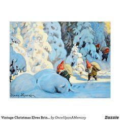 Vintage Christmas Elves Bringing Presents Postcard
