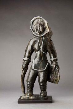 "Inuit, Woman, Cape Dorset, Quvianatuliak Takpaungai, Soapstone, 23.5 x 11.5 x 3"""