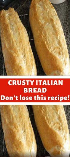 Italian Bread Recipes, Artisan Bread Recipes, Bread Machine Recipes, Easy Bread Recipes, Quick Bread, Baking Recipes, Crusty Bread Recipe Quick, Best Crusty Italian Bread Recipe, Crusty Bread Recipe Bread Machine