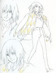 Sketch of Howl and his initial outfit. Artwork from Howl's Moving Castle (2004) http://livlily.blogspot.hu/2012/04/artworks-of-hayao-miyazaki-films.html