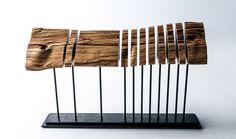 Minimalist Wood Sculpture Fine Art Wood Sculpture on Steel Armature.
