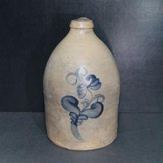 Antique Blue Decorated Salt Glaze Stoneware Jug.