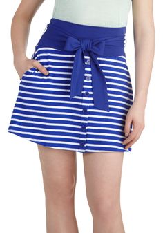 Hometown Tour Skirt by Tulle Clothing - Blue, White, Stripes, Buttons, A-line, Cotton, Short, Pockets, Belted, Casual, Nautical