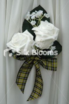 Sleek Cornish Tartan White Rose & Gypsophila Buttonhole | eBay