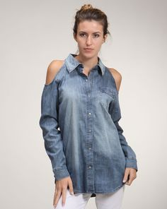 Amy says: Denim cutouts are sexy. Denim on denim is a great look, or denim over some white pants/shorts is appealing as well. Denim will never be out of style Denim Button Up, Button Up Shirts, White Pants, Out Of Style, Denim Shirt, Amy, Shorts, Tops, Women