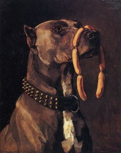 Trübner, Heinrich Wilhelm: Dogge mit Würsten. »Ave Caesar morituri te salutant«