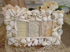 shabby chic - alessandra fiorani - Picasa Web Albums- no more throwing out old picture frames! Seashell Art, Seashell Crafts, Beach Crafts, Diy And Crafts, Seashell Frame, Seashell Jewelry, Shabby Chic Crafts, Wedding Frames, Coastal Decor