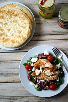 Baked Greek Chicken - WOW! This was Perfect!!! Phil was impressed and this is, by far, his FAVORITE! Served on a whole plate full of spinach, topped with the chicken...Like a hearty Greek chicken salad. No need for anything else! :)