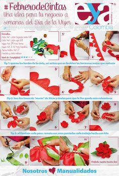 En nuestro mes de cintas, haremos un hermoso broche de flor para regalos en el día de la mujer… Una idea simple y hermosa para añadir a su negocio.  ¿Qué les parece la idea? Nosotros ♥ manualidades #FebrerodeCintas #DIY #Manualidades #Crafts #Díadelamujer