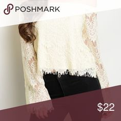 Cream Lace off the shoulder top Retail. Gorgeous cream lace top. Flowy  off the shoulder look. Fully lined body , with lace sleeves. Modeling small. Length is like a long crop top, almost full length. Tops