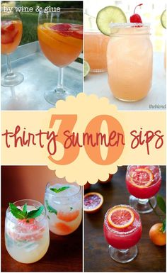 30 Delicious Summer Cocktails | www.wineandglue.com | Summer cocktails that are perfect for a BBQ or sipping on the deck!