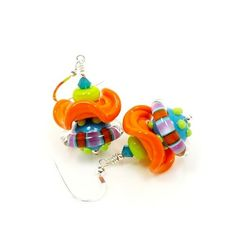 Colorful,Ruffle,Lampwork,Earrings,Handmade Lampwork Earrings, Lampwork Glass Earrings, Lampwork Glass Bead Earrings, Beaded Earrings, Lampwork Earrings, Colorful Earrings, Orange and Turquoise Earrings