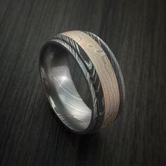 Damascus Steel Ring with Mokume Gane Inlay Custom Made Band