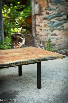 Garcia Collection Coffee Table Live Edge Flame Box Elder fiddleback spalted curly maple metal base forged wrought steel iron handmade. $1,175.00, via Etsy.