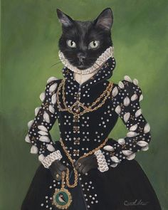 Carol Lew | Isabel - Anthropomorphic cat digital art Order an oil painting of your pet now at www.petsinportrait.com