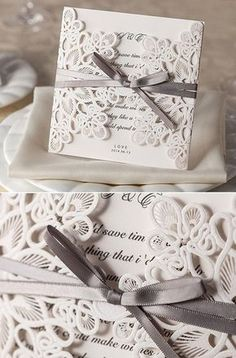 vintage laser cut lace pocket wedding invitation cards #weddinginvitations #elegantweddinginvites #vintageweddingideas