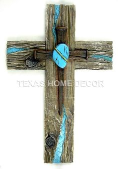 Turquoise Decorative Wall Cross Nails Heart Wood Look Layered Rustic Western: Wooden Cross Crafts, Wooden Crosses, Crosses Decor, Wall Crosses, Wood Crafts, Rustic Cross, Rustic Western Decor, Cross Nails, Old Rugged Cross
