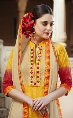 Being a reputed manufacturer and Supplier in the clothing production, we are offering the best quality Floral Designer semi stitch salwar kameez for women. The offered suit is designed by our highly skilled experts by magnificent latest manufacture techniques and fine stitching methods, which make its unyielding against tear. Salwar Kameez, Kurti, Stitching, Floral Design, Saree, Collections, Clothing, How To Make, Women