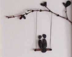 Pebble Art Picture 8 x 10 Framed , Pebble people in swing, by pebble artist Jodi Bolger
