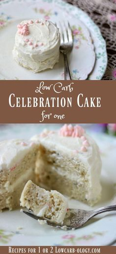 This low carb cake recipe for one has two layers with a creamy frosting and filling. It tastes like a bakery wedding cake with that hint of almond flavor. 6 net carbs from Lowcarb-ology.com via @Marye at Restless Chipotle